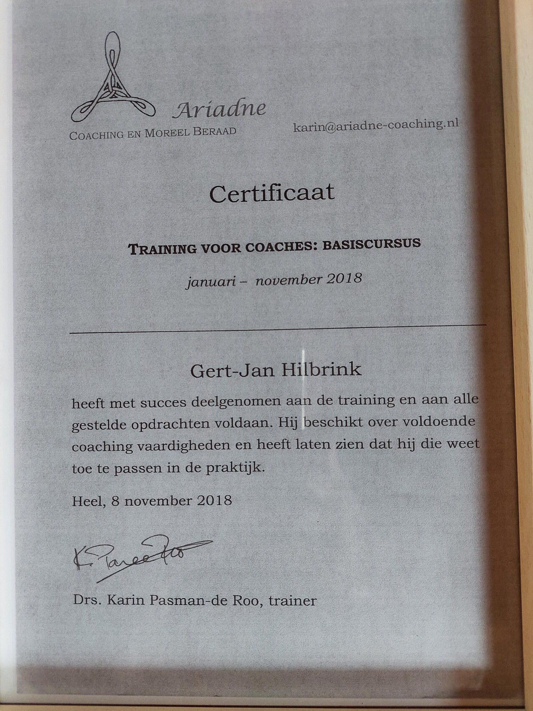 certificaat ariadne
